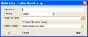 Custom Report Setup